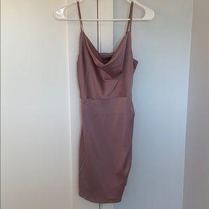 Nasty gal lilac satin cowl neck dress